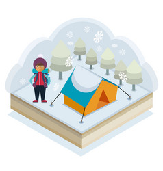 winter camping vector image vector image