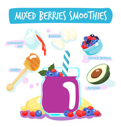 mixed berries delicious healthy smoothies vector image