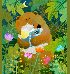 mother bear reading book to cub baby in forest vector image vector image