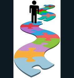 person problem missing piece puzzle find solution vector image vector image