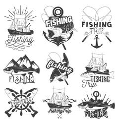 set of monochrome fishing trip emblems vector image vector image