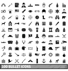 100 bullet icons set simple style vector image