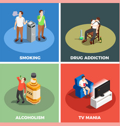 Addictions isometric design concept vector