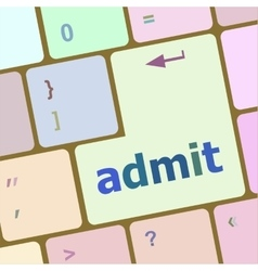 Admit sign button on keyboard with soft focus vector