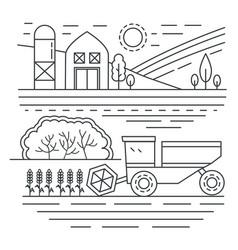 agriculture farm thin line concept landscape vector image