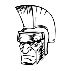 Ancient warrior in helmet vector
