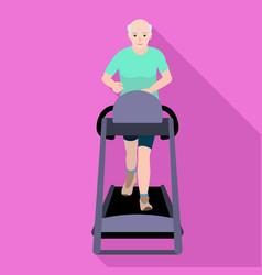 Bald old man treadmill icon flat style vector