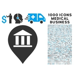 Bank building pointer icon with 1000 medical vector