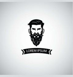 barbershop logo template with hipster man vector image