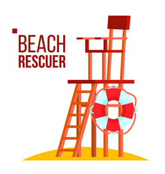 beach rescuer isolated flat cartoon vector image