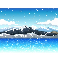 Beauty snow mountain with landscape background vector