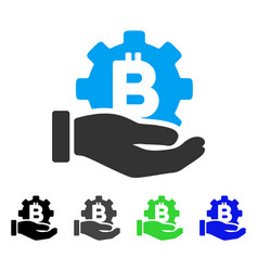 Bitcoin development service hand flat icon vector