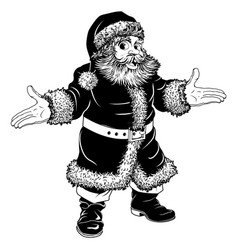 Black and white christmas santa claus vector