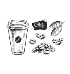 Black and white set coffee paper vector