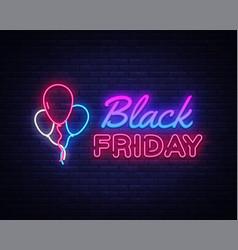 black friday sale neon sign black friday vector image