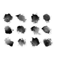 Black ink watercolor splatters and drips vector