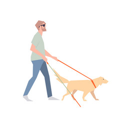 blind with a stick the blind man walks beside the vector image