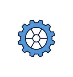 Blue cog wheel or gear concept icon or sign vector