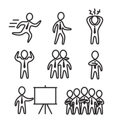 business man stick figure icon collection vector image