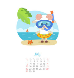 Calendar 2018 months july with sheep vector