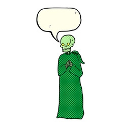 Cartoon skeleton in black robe with speech bubble vector