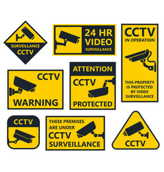 Cctv sign security camera stickers vector