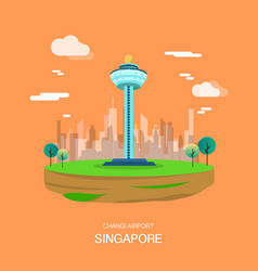 Changi airport landmark in singapore design vector