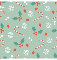 Christmas pattern with candy canes and hollies vector
