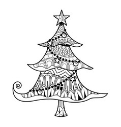 christmas tree coloring book vector image
