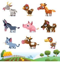 collection farm animals vector image