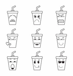 Collection various drinking cup expressions vector
