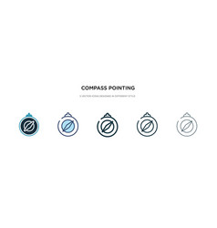 Compass pointing north icon in different style vector