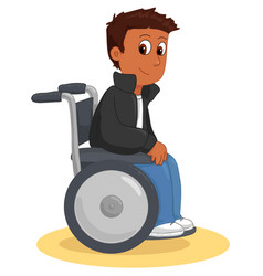 Cool happy wheelchair boy vector