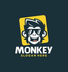 Cool monkey logo design vector