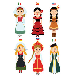 cute cartoon lady dress difference nationality vector image