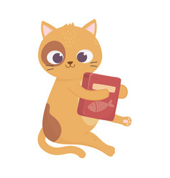 cute little cat sitting with food box pets cartoon vector image
