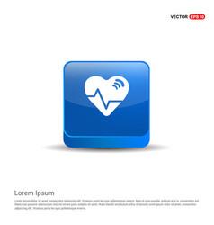 Ecg icon - 3d blue button vector