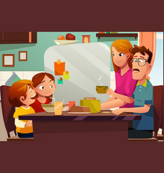 family having dinner together vector image