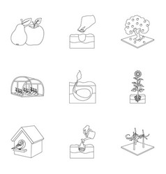 farm garden and other web icon in outline style vector image