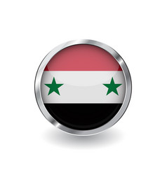 flag of syria button with metal frame and shadow vector image