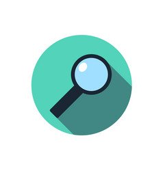 Flat magnifying glass icon question with a long vector