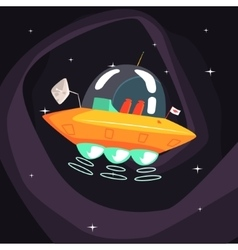 Flying Saucer Alien Spacecraft With Fantastic vector