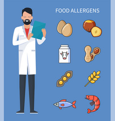Food allergens doctor with prescription and cure vector