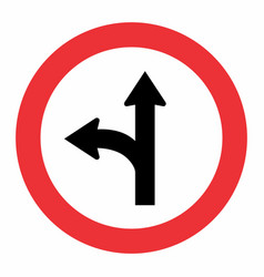 fork left traffic sign vector image