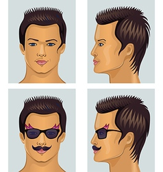 Front side man portrait isolated on grey vector