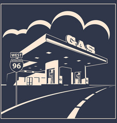 Gas station on road poster vector