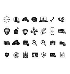 gdpr data privacy icons vector image