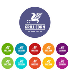 Grill corn icons set color vector