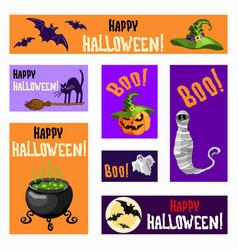 halloween banners set with pumpkin lantern mummy vector image