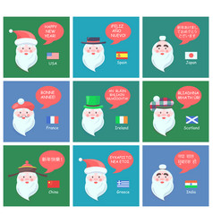 Happy new year wishes from cheerful santa clauses vector